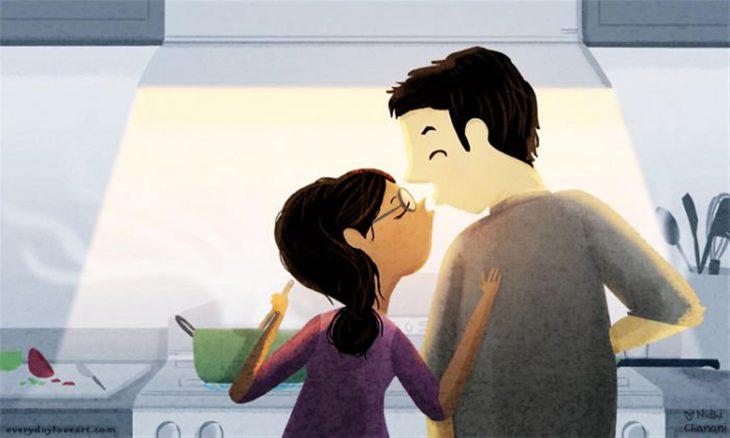 Ilustración de Nidhi Chanani pareja cocinando