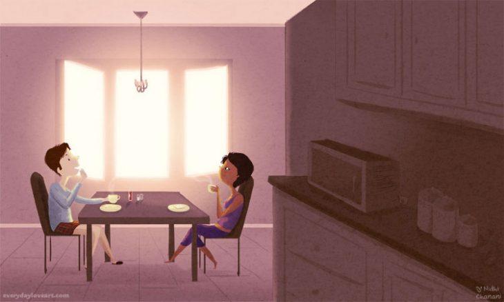 Ilustración de Nidhi Chanani pareja tomando café