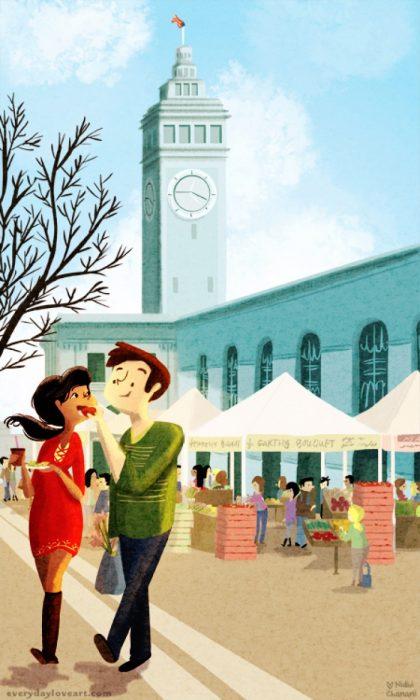 Ilustración de Nidhi Chanani pareja comiendo mientras caminan