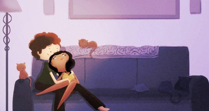Ilustración de Nidhi Chanani pareja sentada en el sofá con dos gatos