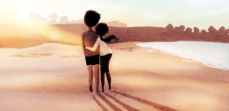 Ilustración de Nidhi Chanani pareja caminando por la playa