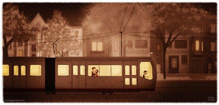 Ilustración de Nidhi Chanani pareja viajando en transporte publico