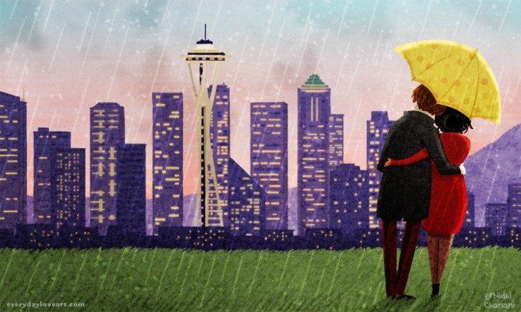 Ilustración de Nidhi Chanani pareja caminando bajo la lluvia