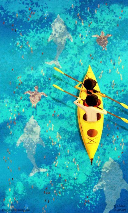 Ilustración de Nidhi Chanani pareja practicando kayak