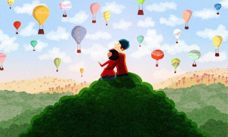 Ilustración de Nidhi Chanani pareja observando globos en el cielo