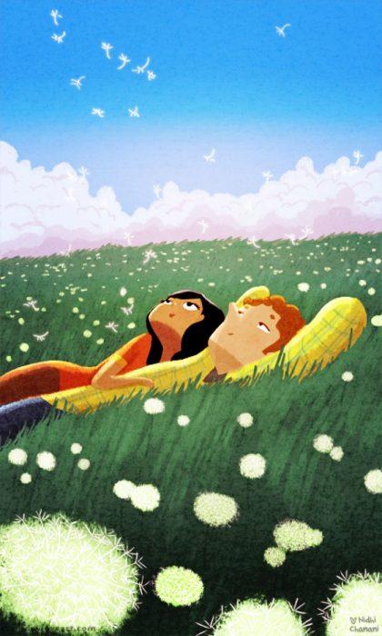 Ilustración de Nidhi Chanani pareja observando las nubes