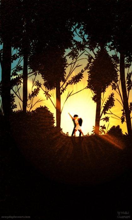 Ilustración de Nidhi Chanani pareja compartiendo una puesta de sol