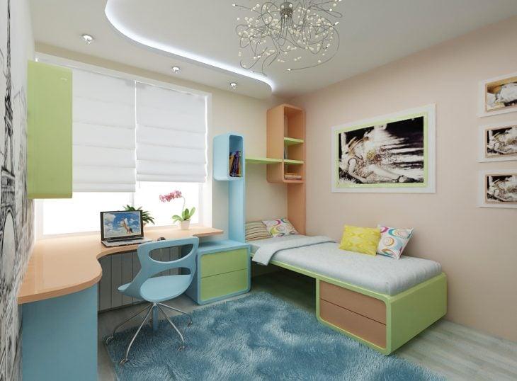 Habitación con muebles en color pastel