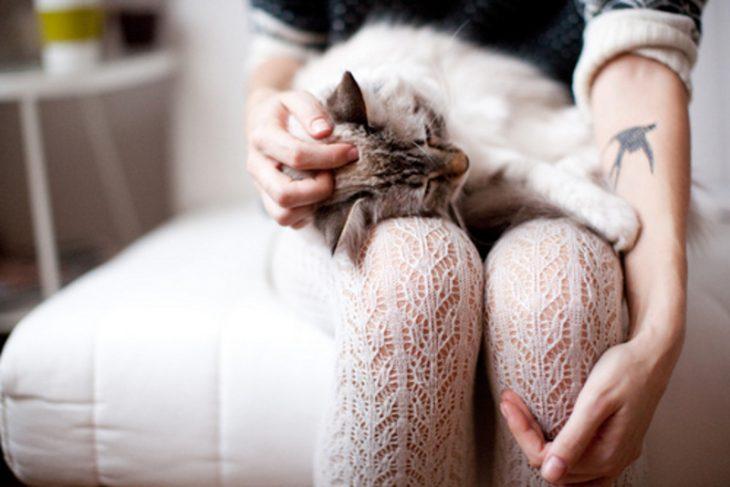Chica con gato en su regazo