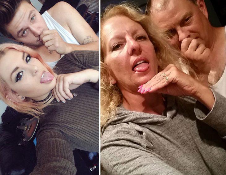 Padres recrean las fotos de su hija junto a su novio