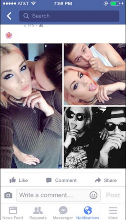 Pagina de facebook de Emily, la chica a la cual sus padres le recrearon fotos junto a su novio