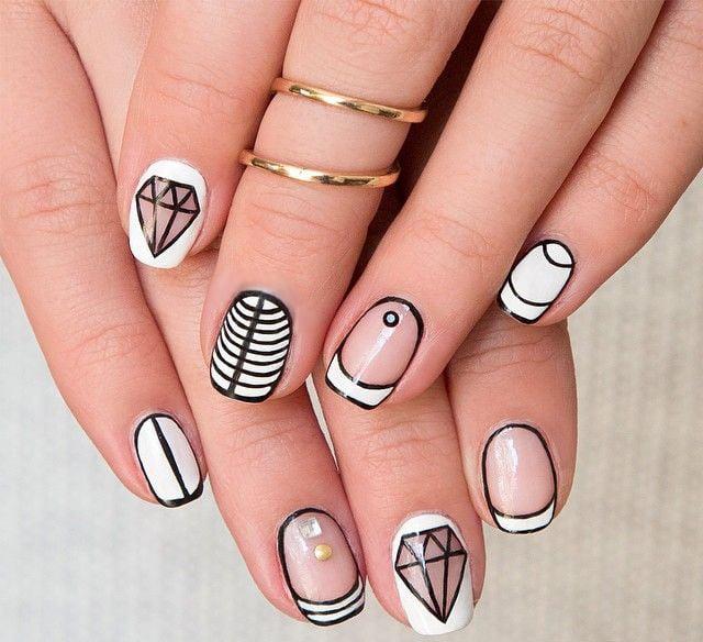 Nail Art With White Acrylic Paint: 40 Increíbles Diseños En Blanco Y Negro Para Pintar Tus Uñas