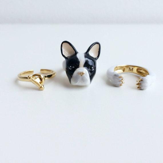 anillo de tres piezas en forma de perro