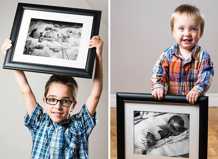Niños sosteniedo una foto de ellos cuando eran bebés