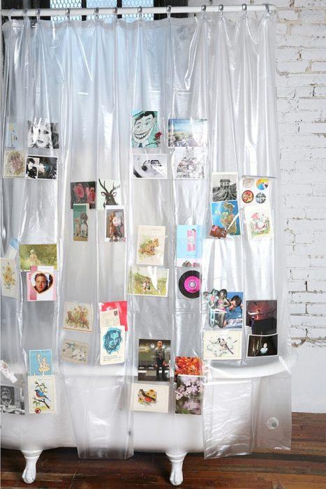 cortina para baño con bolsas