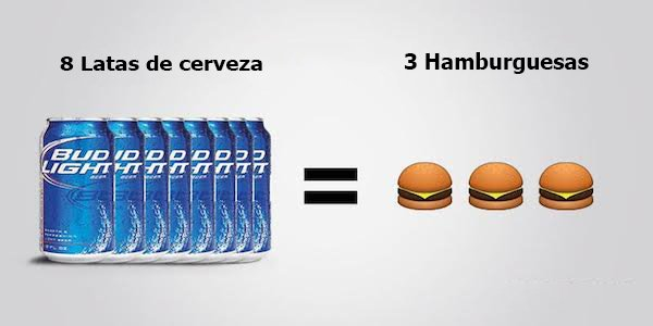 cerveza vs hamburguesas