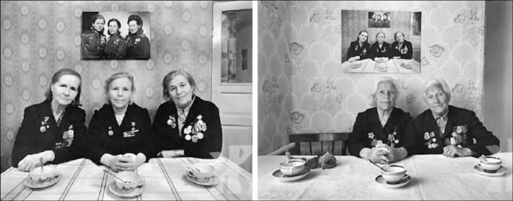 hermanas en tres fotografías diferentes años