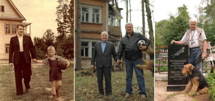 padre e hijo posan para diferentes fotografías