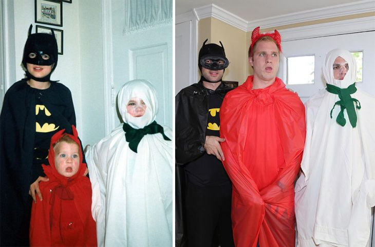 Niños y hombres vestidos con disfraces de halloween