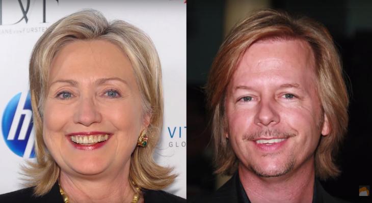 Hillary Clinton y David Spade
