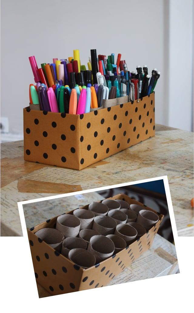 Reciclar tubos de cartón para guardar plumas, lápices y pinceles