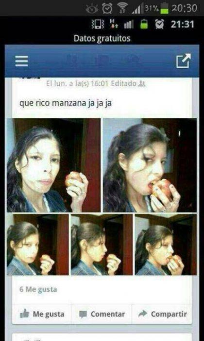captura pantalla chica comiendo manzana