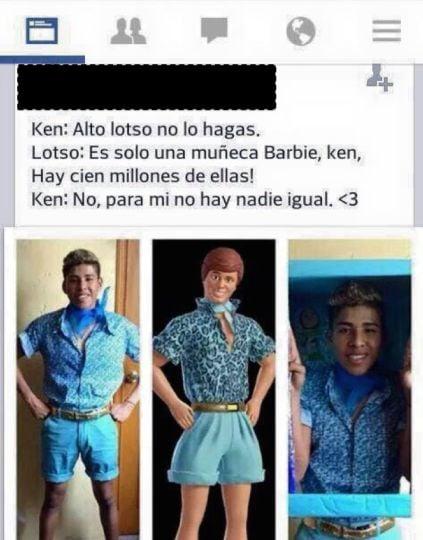captura pantalla chico disfrazado de Ken