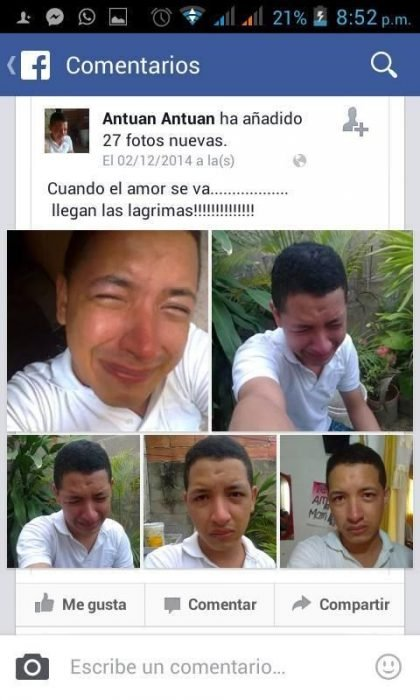 captura pantalla selfies de chico llorando