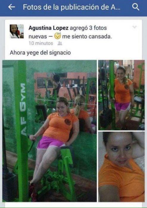 captura pantalla chica en gimnasio faltas de ortografía