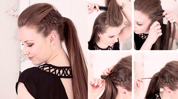 Chica con un peinado de coleta y trenzas