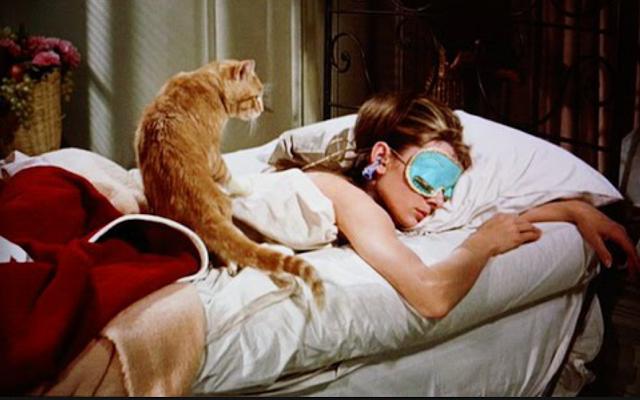 chica durmiendo con antifaz y gato encima