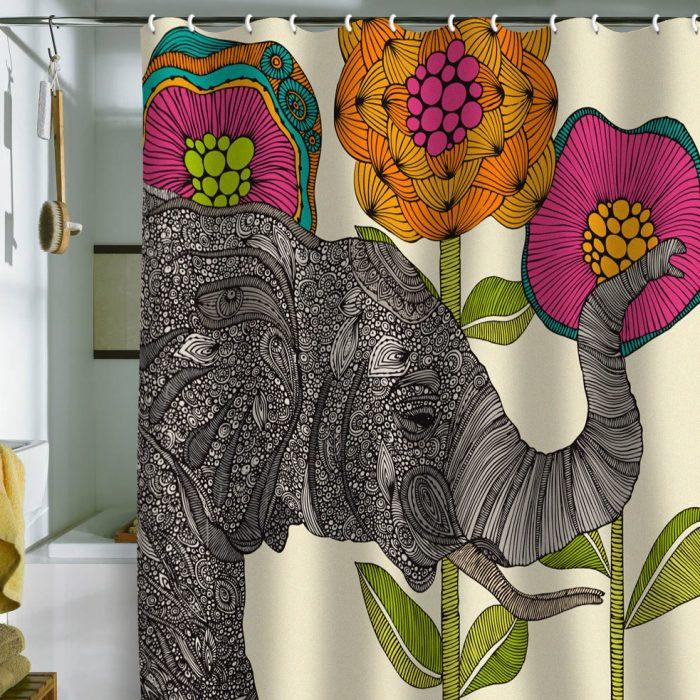 cortina de baño en forma de elefante