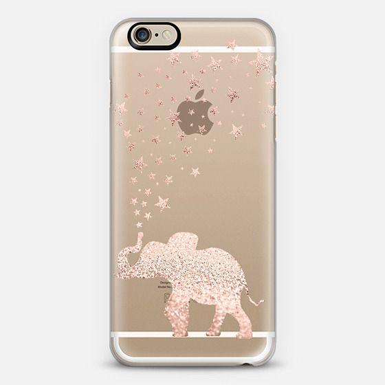 case para iphone con un elefante rosa y brillante atras
