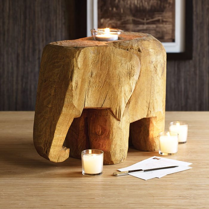 porta velas en forma de elefante
