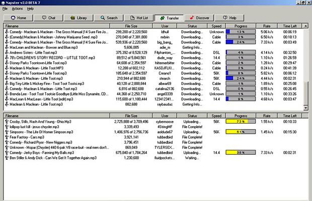 captura de pantalla pagina de Napster