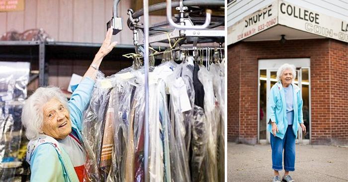 Mujer que a sus 100 años aún trabaja 11 horas al día, seis días a la semana en una lavandería, y para ella es perfectamente normal