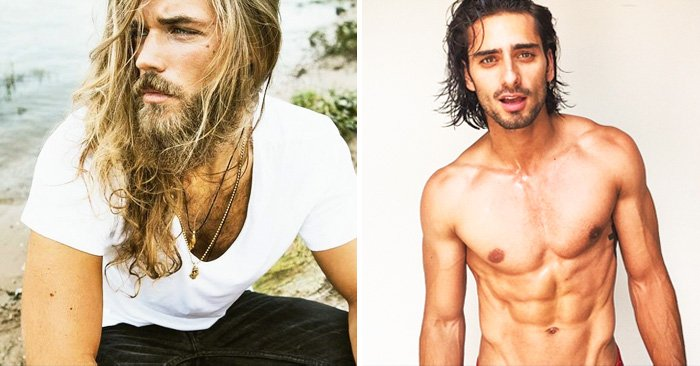 Hombres guapos de cabello largo