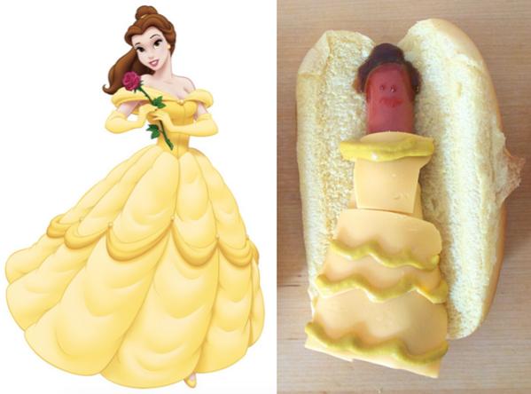 bella y su imagen en hot dog