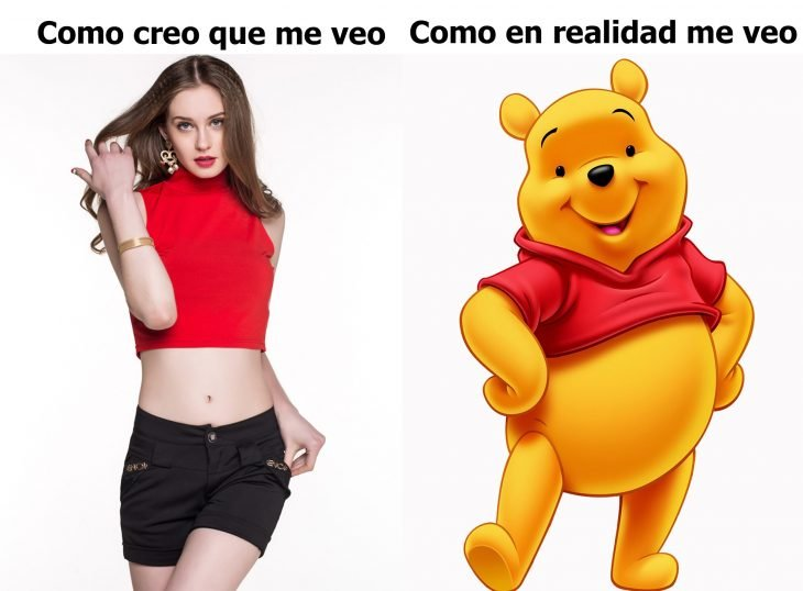 chica en top comparada con winnie poh