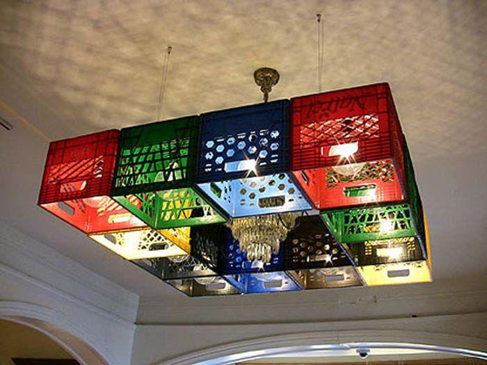 lámpara de techo con rejas de plástico
