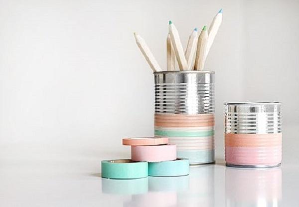 latas forradas con cinta