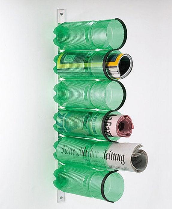 porta revistas de botellas de plástico