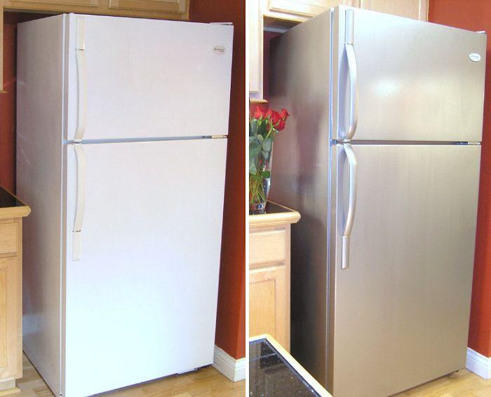 refrigerador pintado con pintura de acero inoxidable