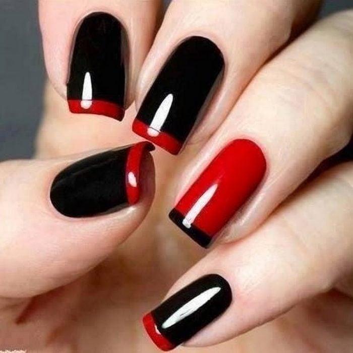 manicure francés rojo con negro