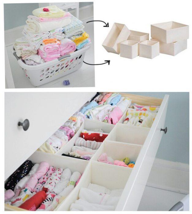 cajones para organizar los cajones con ropa de bebè