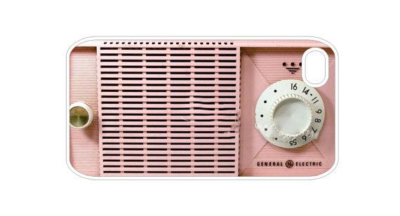 Funda retro para celular en forma de radio color rosa
