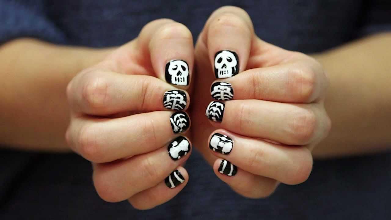 diseo de uas para halloween de esqueleto