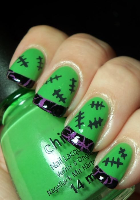Diseños de uñas para halloween estilo Frankenstein