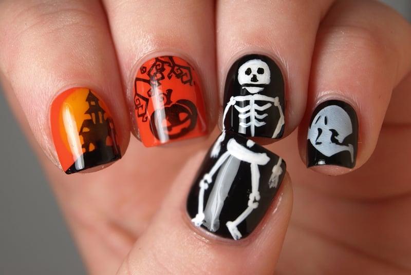Uñas para Halloween de esqueleto