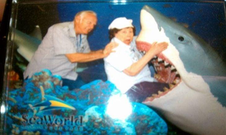Viejitos dentro de un tiburón en un parque de diversiones